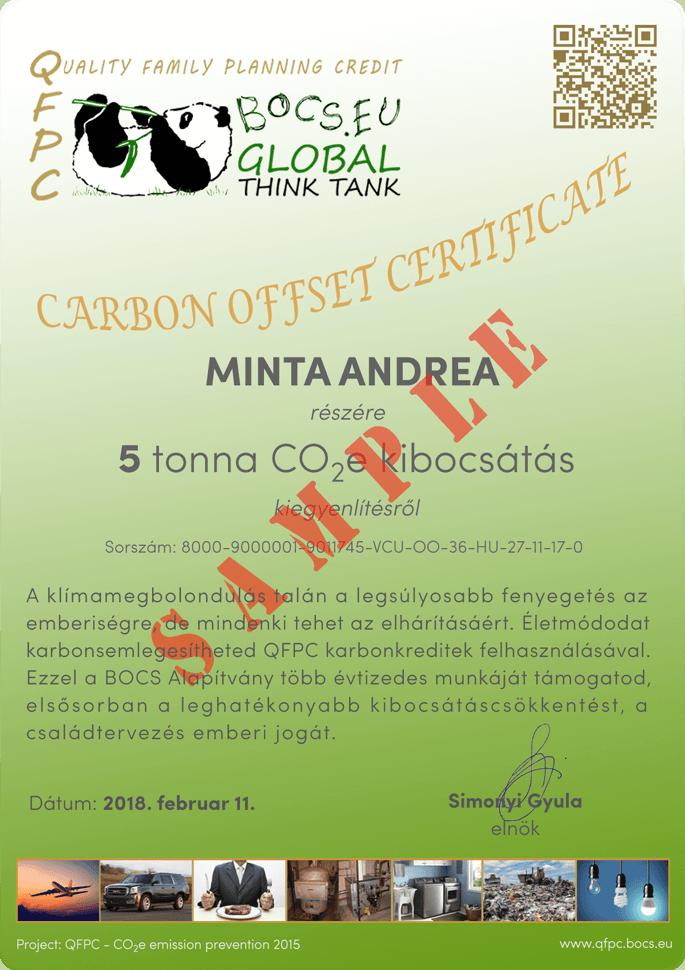 Carbon Offset Tanúsítvány Minta | BOCS Alapítvány